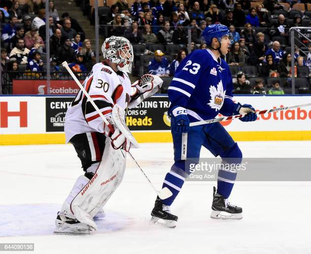 Brooks Laich of the Toronto Marlies puts a screen on Andrew Hammond of the Binghamton Senators during AHL game action on February 20 2017 at Air...