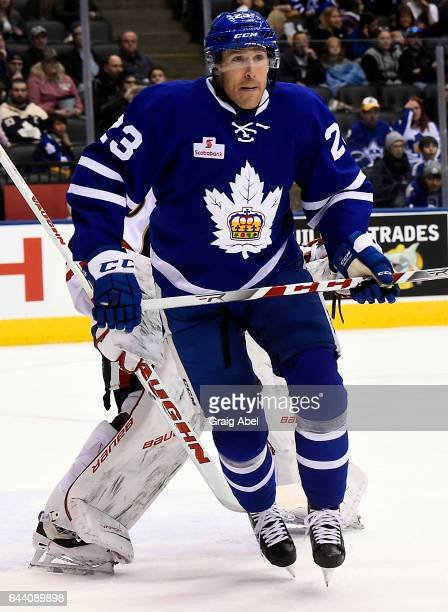 Brooks Laich of the Toronto Marlies puts a screen on goalie Andrew Hammond of the Binghamton Senators on February 20 2017 at Air Canada Centre in...