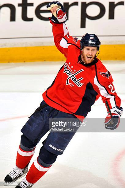 Brooks Laich of the Washington Capitals celebrates his team's first goal during the first period of Game Four of the Eastern Conference Semifinals of...