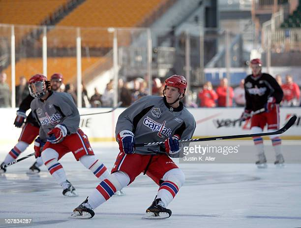 Brooks Laich of the Washington Capitals skates during the 2011 NHL Winter Classic Practice on December 31 2010 at Heinz Field in Pittsburgh...