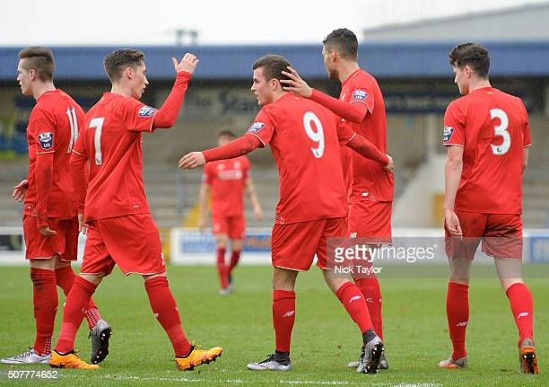Brooks Lennon of Liverpool celebrates his goal with team mates Ryan Kent Harry Wilson Tiago Ilori and Sam Hart during the Liverpool v Reading...