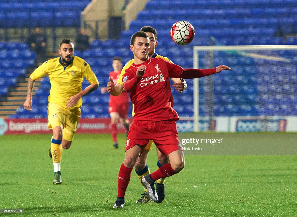 Brooks Lennon of Liverpool in action during the Liverpool v Leeds United U21 Premier League Cup game at Prenton Park on January 19, 2016 in Birkenhead, England.