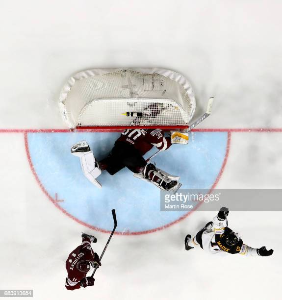 Brooks Macek of Germany celebrates the opening goal during the 2017 IIHF Ice Hockey World Championship game between Germany and Latvia at Lanxess...