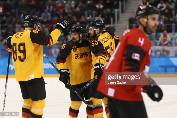 Brooks Macek of Germany reacts after scoring a goal against Canada in the first period during the Men's Playoffs Semifinals on day fourteen of the...
