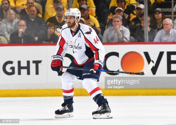 Brooks Orpik of the Washington Capitals skates against the Pittsburgh Penguins in Game Three of the Eastern Conference Second Round during the 2017...