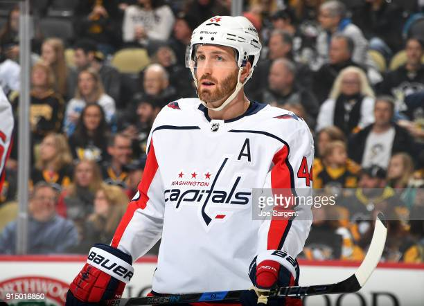 Brooks Orpik of the Washington Capitals skates against the Pittsburgh Penguins at PPG Paints Arena on February 2 2018 in Pittsburgh Pennsylvania