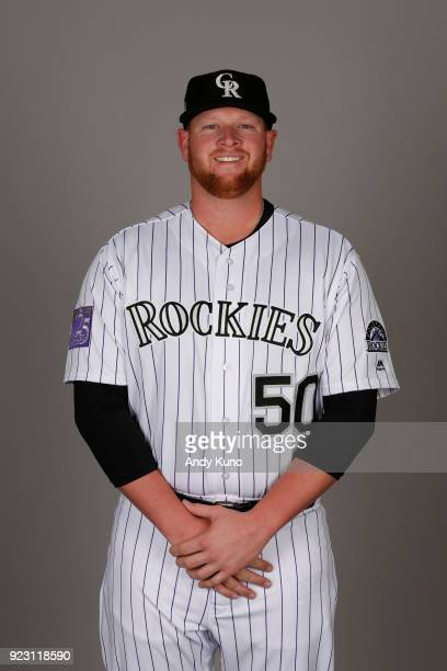 Brooks Pounders of the Colorado Rockies poses during Photo Day on Thursday February 22 2018 at Salt River Fields at Talking Stick in Scottsdale...