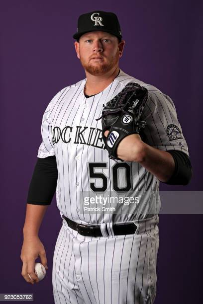 Brooks Pounders of the Colorado Rockies poses on photo day during MLB Spring Training at Salt River Fields at Talking Stick on February 22 2018 in...
