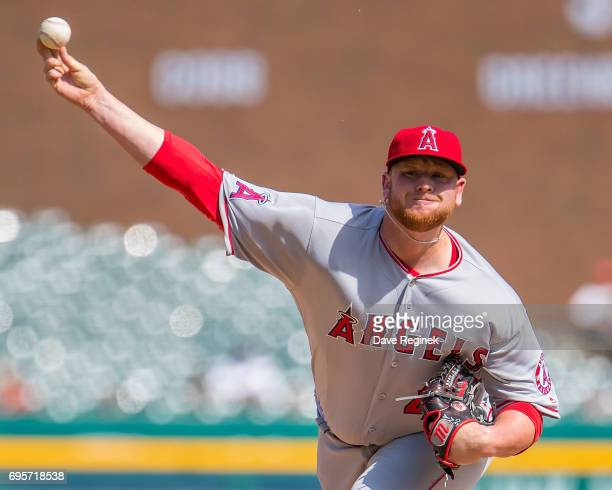 Brooks Pounders of the Los Angeles Angels of Anaheim pitches in the ninth inning during a MLB game against the Detroit Tigers at Comerica Park on...