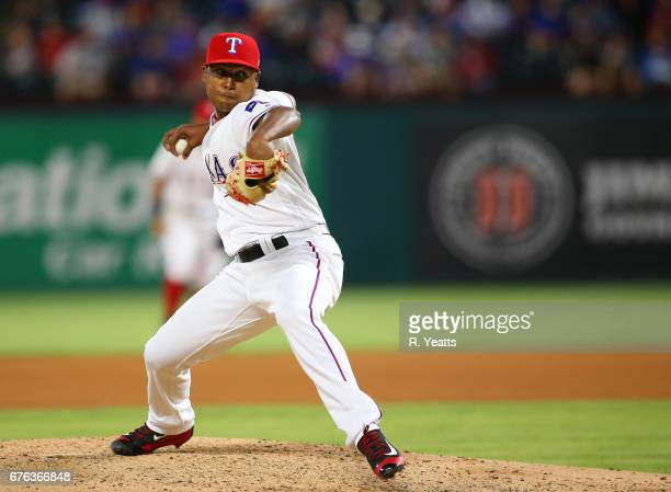 Brooks Pounders of the Los Angeles Angels of Anaheim throws in the sixth inning against the Texas Rangers at Globe Life Park in Arlington on April 29...