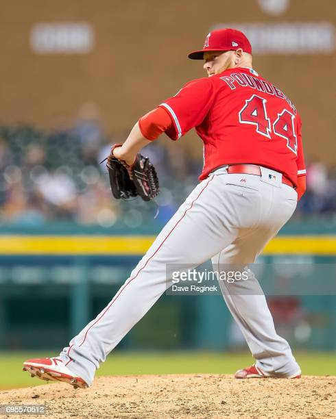 Brooks Pounders of the Los Angeles Angels throws in the eighth inning during a MLB game against the Detroit Tigers at Comerica Park on June 7 2017 in...