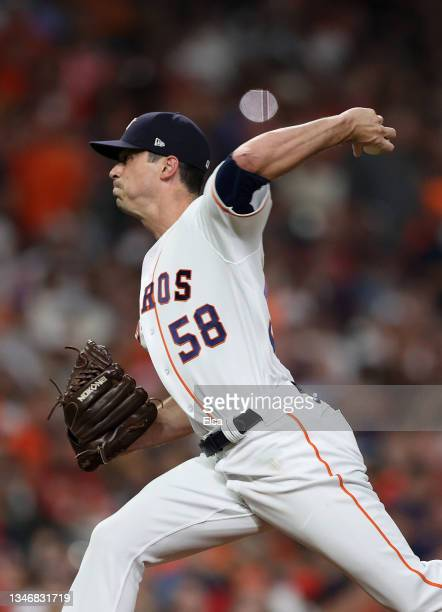 Brooks Raley of the Houston Astros pitches against the Boston Red Sox in the eighth inning during Game One of the American League Championship Series...
