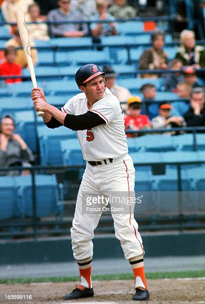 Brooks Robinson of the Baltimore Orioles bats during an Major League Baseball game circa 1968 at Memorial Stadium in Baltimore Maryland Robinson...