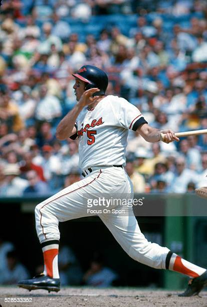 Brooks Robinson of the Baltimore Orioles bats during an Major League Baseball game circa 1971 at Memorial Stadium in Baltimore Maryland Robinson...