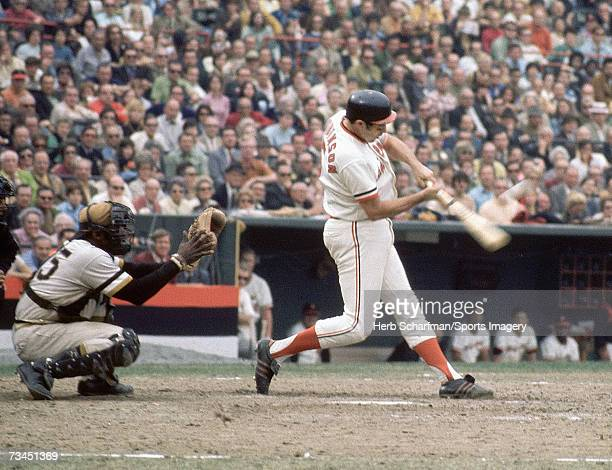 Brooks Robinson of the Baltimore Orioles batting against the Pittsburgh Pirates during the 1971 World Series on October 16 1971 in Baltimore Maryland