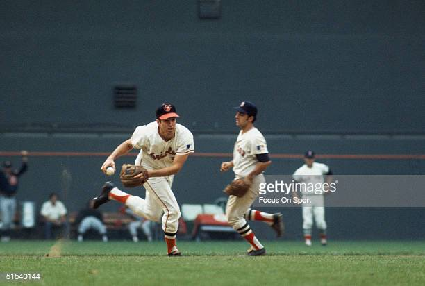 Brooks Robinson of the Baltimore Orioles fields his position during the All Star Game at Robert F Kennedy Stadium in Washington DC in 1969