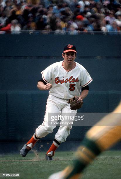 Brooks Robinson of the Baltimore Orioles in action against the Oakland Athletics during an Major League Baseball game circa 1971 at Memorial Stadium...