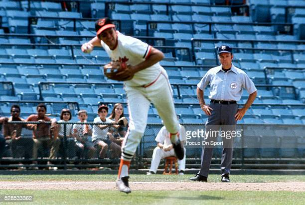 Brooks Robinson of the Baltimore Orioles in action making an off balance throw to first base during an Major League Baseball game circa 1971 at...