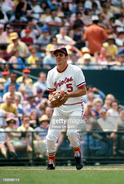 Brooks Robinson of the Baltimore Orioles looks on from his position in the field during an Major League Baseball game circa 1970 at Memorial Stadium...
