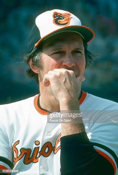 Brooks Robinson of the Baltimore Orioles looks on prior to the start of a Major League Baseball game circa 1977 at Memorial Stadium in Baltimore...
