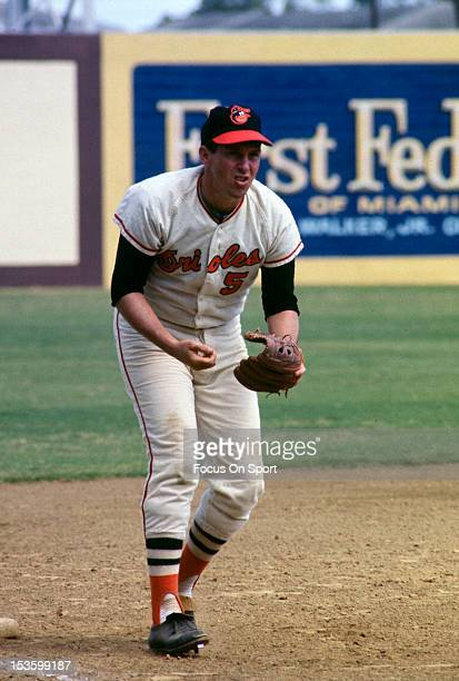 Brooks Robinson of the Baltimore Orioles looks to field a ground ball during a spring training Major League Baseball game circa 1968 Robinson played...