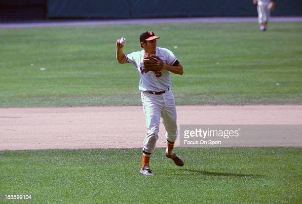 Brooks Robinson of the Baltimore Orioles makes a throw to first base during an Major League Baseball game circa 1966 at Memorial Stadium in Baltimore...