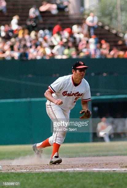Brooks Robinson of the Baltimore Orioles reacts to field a ground ball hit his way during an Major League Baseball game circa 1970 at Memorial...