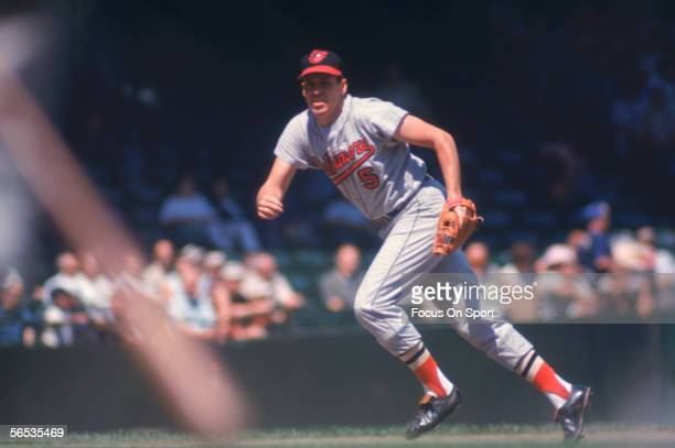 Brooks Robinson of the Baltimore Orioles runs to field a ball during a game at Memorial Stadium circa the 1970's in Baltimore Maryland