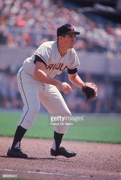 Brooks Robinson of the Baltimore Orioles stands waiting for the next play during a game at Memorial Stadium circa 1971 in Baltimore Maryland