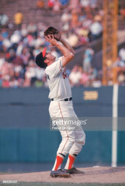 Brooks Robinson of the Baltimore Orioles stands waiting to catch a pop fly during a game at Memorial Stadium circa the 1960's in Baltimore, Maryland.