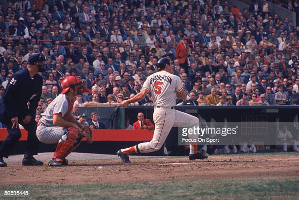 Brooks Robinson of the Baltimore Orioles swings during the World Series against the Cincinnati Reds at Memorial Stadium circa October of 1970 in...