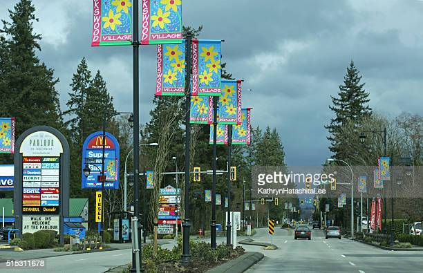 Brookswood Village, 200 Street in Langley, British Columbia, Canada, Winter
