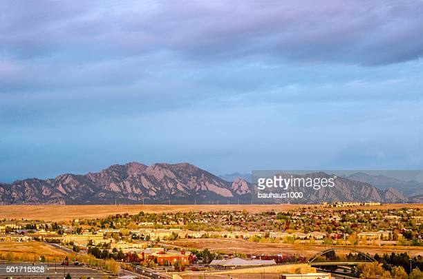 broomfield, colorado and the flatiron mountain range - boulder county stock pictures, royalty-free photos & images