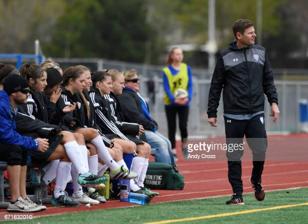 Broomfield girls soccer coach Jim Davidson paces the sidelines during the game against Cherry Creek in the first half at Broomfield High School April...