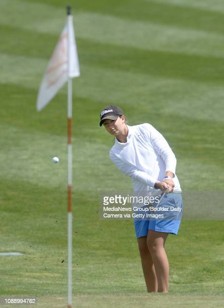 Broomfield High School's Taylor Dorans chips her ball onto the green during the Colorado State 4A Golf Championship on Monday May 20 at the Broken...