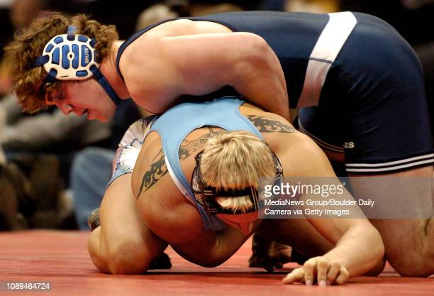 Broomfield's David Marrone top gets control of Greeley West's Justin Waterman during their match in the 215pound division of the 2007 State 4A...