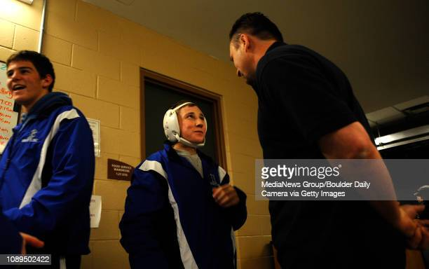 Broomfield's Nick Babcock talks to his coach before the State Wrestling Semifinals at the Pepsi Center in Denver on Friday January 20 2009