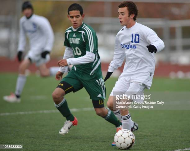 Broomfield's Noah Chapleski moves the ball downfield against Summit's Alex Roque during Thursday's game at Elizabeth Kennedy Stadium October 25 2012...
