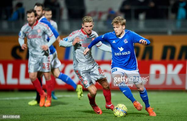 Bror Blume controls the ball during the Danish Alka Superliga match between Lyngby BK and AaB Aalborg at Lyngby Stadion on December 2 2017 in Lyngby...