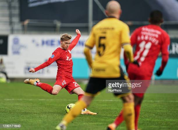 Bror Blume of Aarhus GF during the Superliga match between AC Horsens versus Aarhus GF at Casa Arena Horsens , Horsens, Denmark on December 13, 2020.
