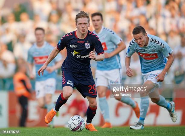 Bror Blume of AGF Aarhus controls the ball during the Danish Alka Superliga Europa League Playoff match between Sonderjyske and AGF Aarhus at Sydbank...