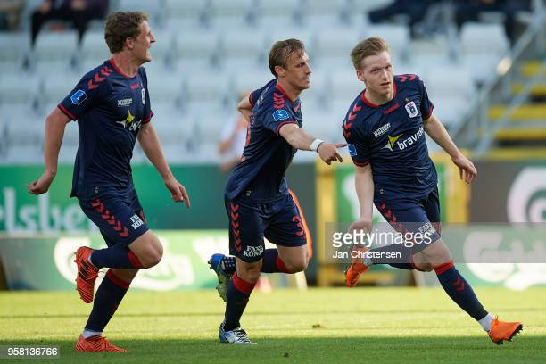 Bror Blume of AGF Arhus celebrate after his 02 goal during the Danish Alka Superliga match between OB Odense and AGF Arhus at EWII Park on May 13...