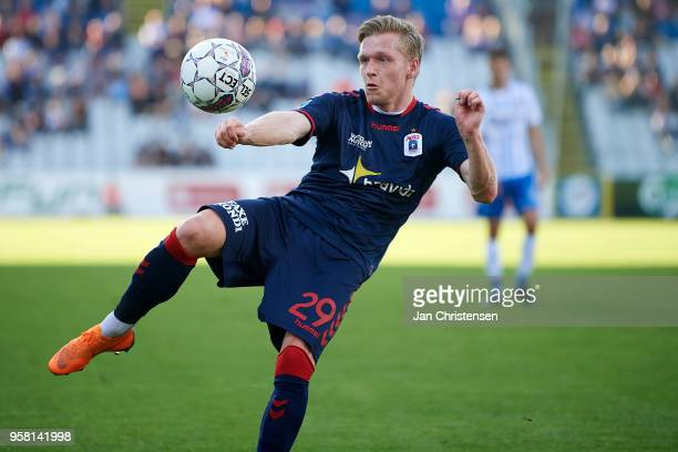 Bror Blume of AGF Arhus in action during the Danish Alka Superliga match between OB Odense and AGF Arhus at EWII Park on May 13 2018 in Odense Denmark