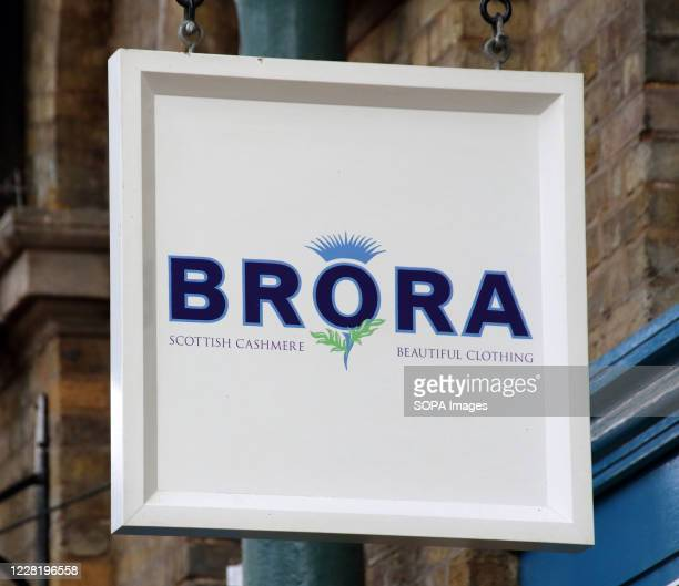 Brora logo seen outside their scottish cashmere store at Covent Garden in Central London.