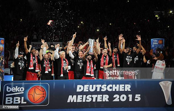 Brose Baskets Bamberg celebrate winning the German basketball championship 2015 Game Five of the 2015 BBL Finals at Brose Arena on June 21 2015 in...