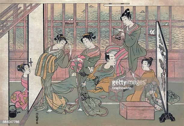 Brothel in the Shinagawa, Tokyo , 1774. The print is from a shunga series and shows five courtesans entertaining a male client. Ukiyo-e woodblock...