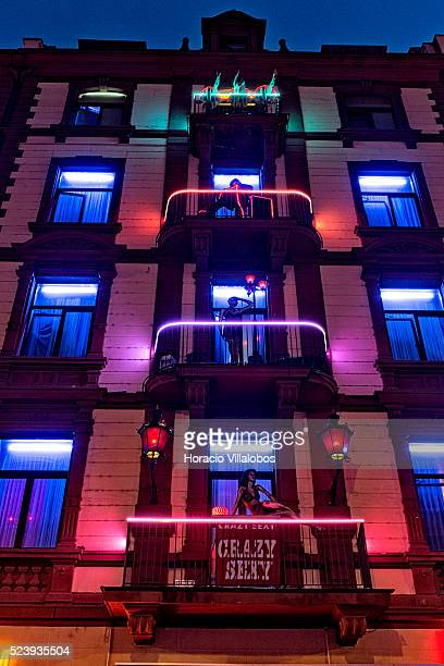 A brothel red lit facade near the Hauptbahnhof in Frankfurt Germany 02 April 2014 is a permanent feature and a visual addition of the 7th edition of...