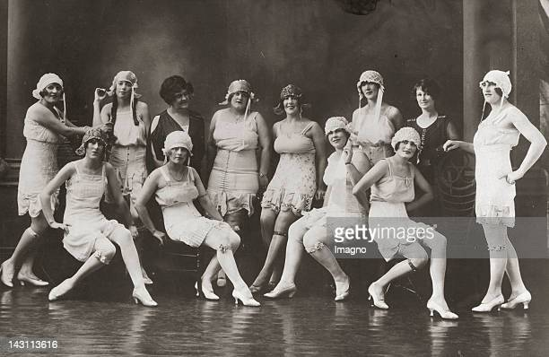 Brothel . Women in lingerie with 2 attendants. Photograph around 1925.