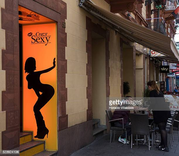 Brothels in the Redlight district Frankfurt Germany 29 September 2014 The Redlight district area in Frankfurt is known as Bahnhofsviertel opposite...