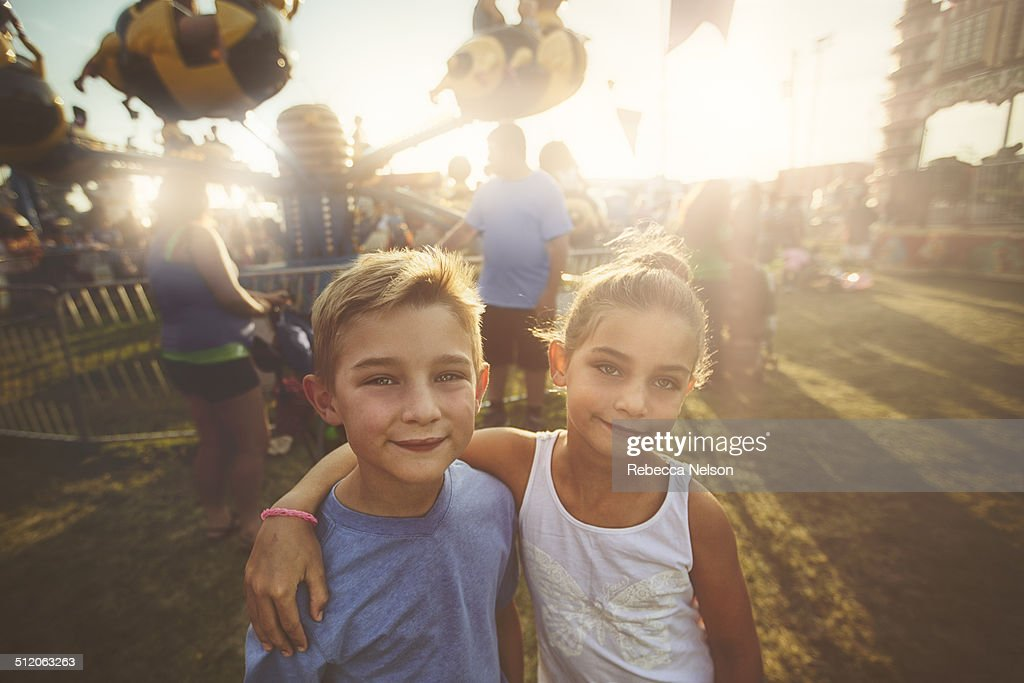 Brother and sister at the county fair : Stock Photo